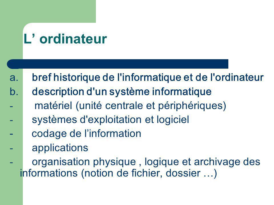 L ordinateur a. bref historique de l'informatique et de l'ordinateur b. description d'un système informatique - matériel (unité centrale et périphériq