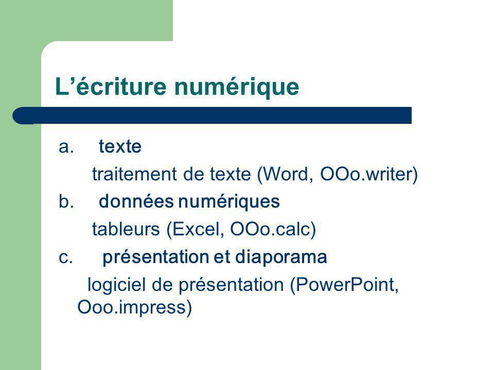 Lécriture numérique a. texte traitement de texte (Word, OOo.writer) b. données numériques tableurs (Excel, OOo.calc) c. présentation et diaporama logi