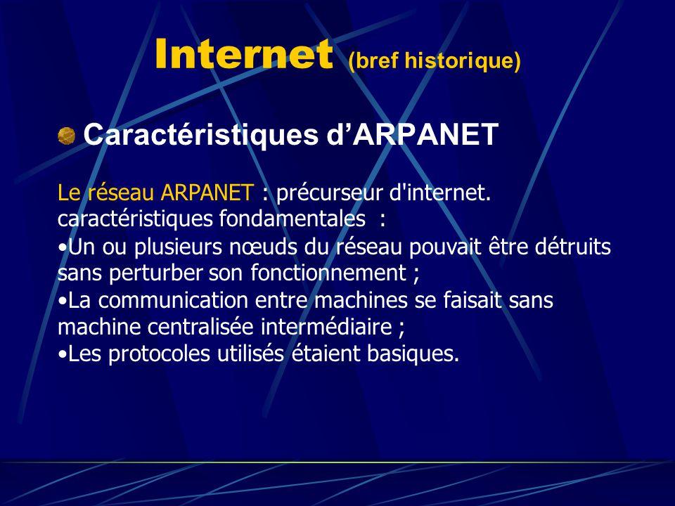 Internet (bref historique) Caractéristiques dARPANET Le réseau ARPANET : précurseur d'internet. caractéristiques fondamentales : Un ou plusieurs nœuds