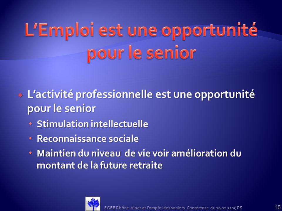 Lactivité professionnelle est une opportunité pour le senior Lactivité professionnelle est une opportunité pour le senior Stimulation intellectuelle S