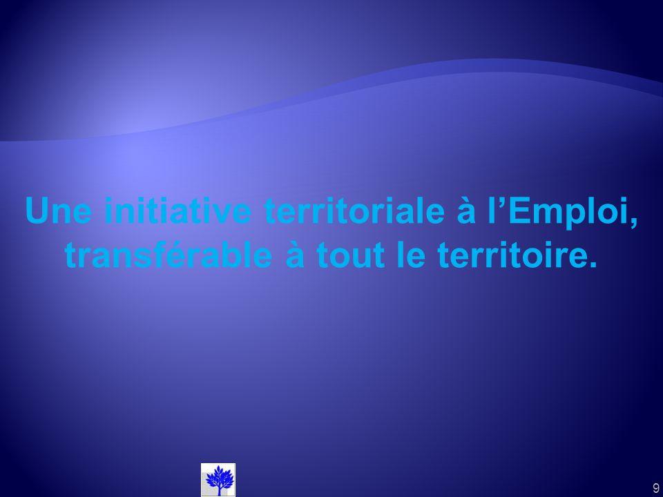 9 Une initiative territoriale à lEmploi, transférable à tout le territoire.