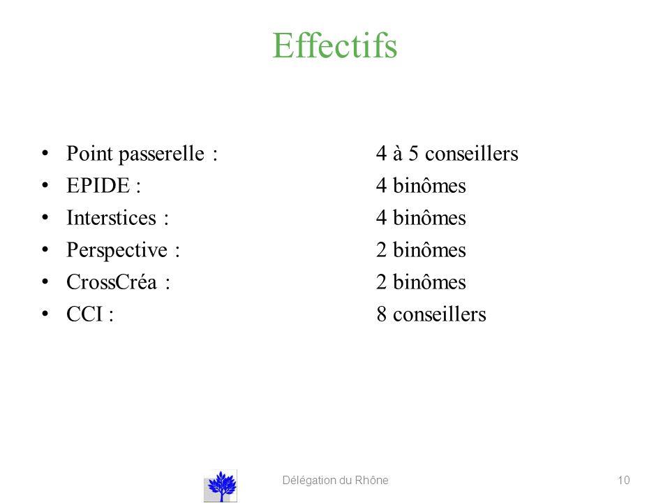 Effectifs Point passerelle : 4 à 5 conseillers EPIDE :4 binômes Interstices :4 binômes Perspective :2 binômes CrossCréa :2 binômes CCI:8 conseillers Délégation du Rhône 10