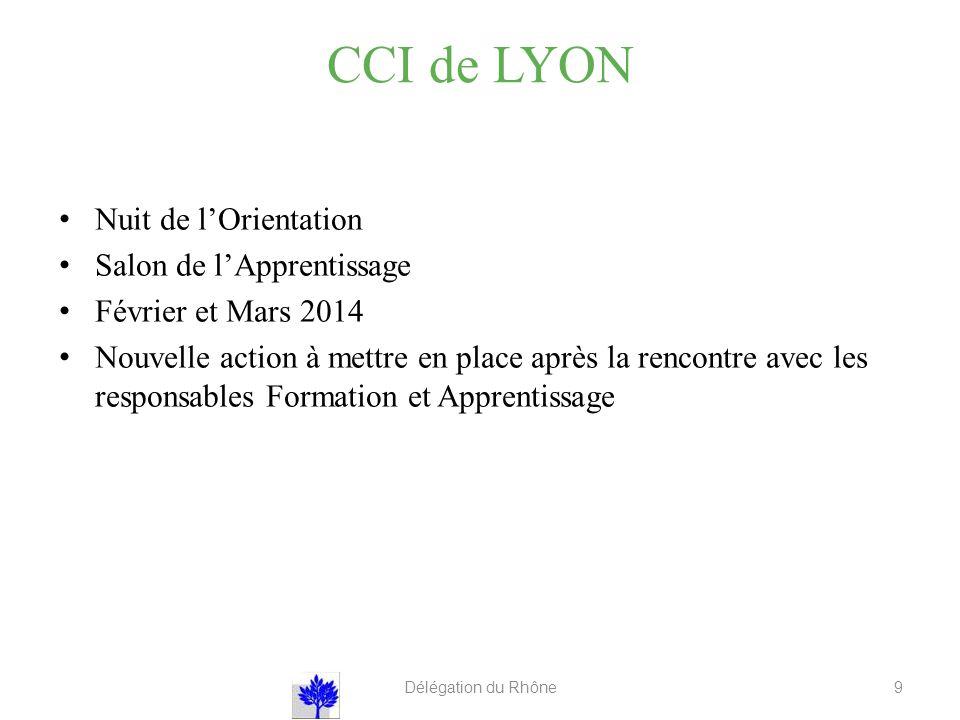CCI de LYON Nuit de lOrientation Salon de lApprentissage Février et Mars 2014 Nouvelle action à mettre en place après la rencontre avec les responsables Formation et Apprentissage Délégation du Rhône 9