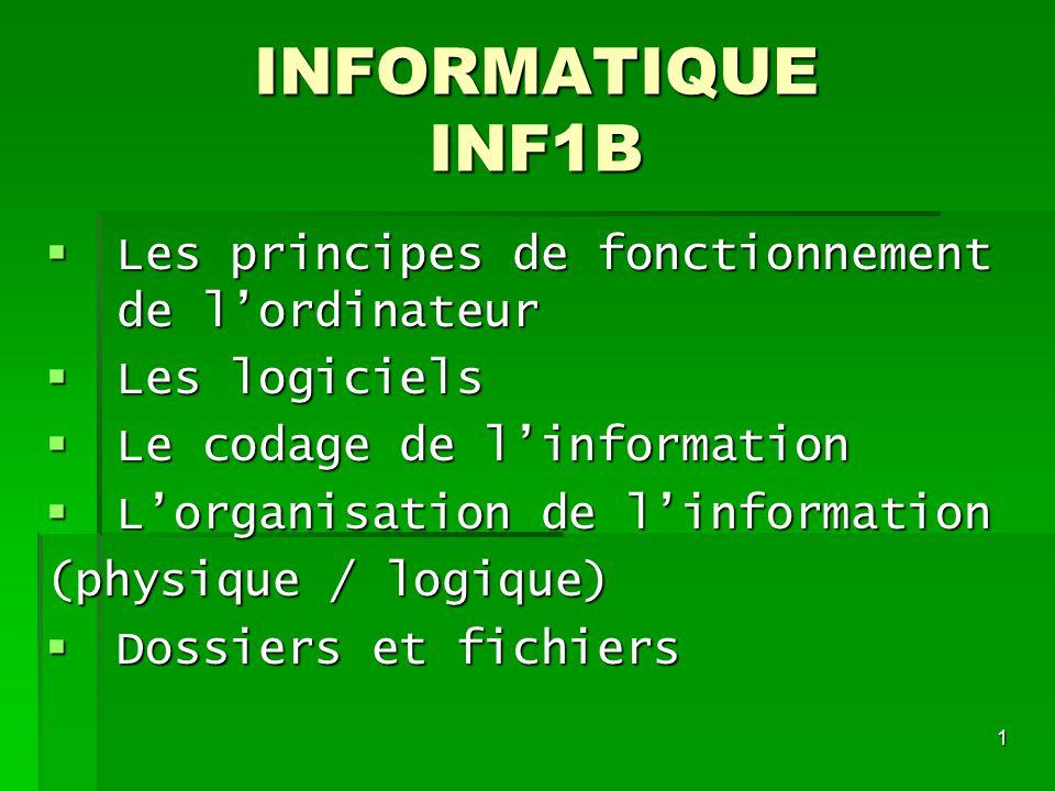 1 INFORMATIQUE INF1B Les principes de fonctionnement de lordinateur Les principes de fonctionnement de lordinateur Les logiciels Les logiciels Le coda