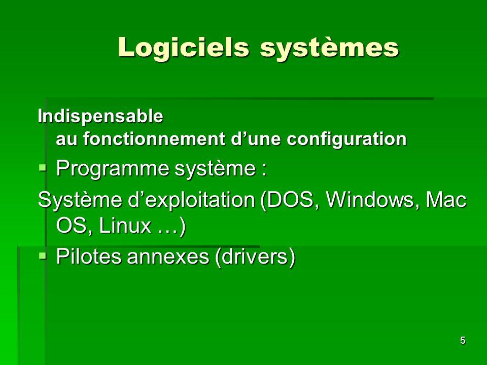5 Logiciels systèmes Indispensable au fonctionnement dune configuration Programme système : Programme système : Système dexploitation (DOS, Windows, M