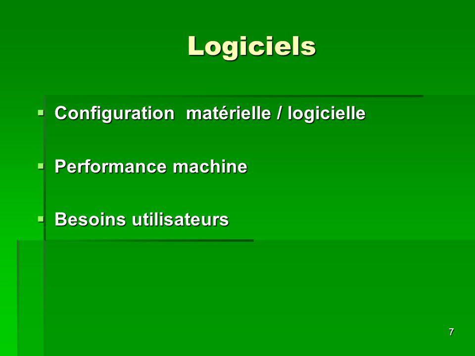 7 Logiciels Configuration matérielle / logicielle Configuration matérielle / logicielle Performance machine Performance machine Besoins utilisateurs B