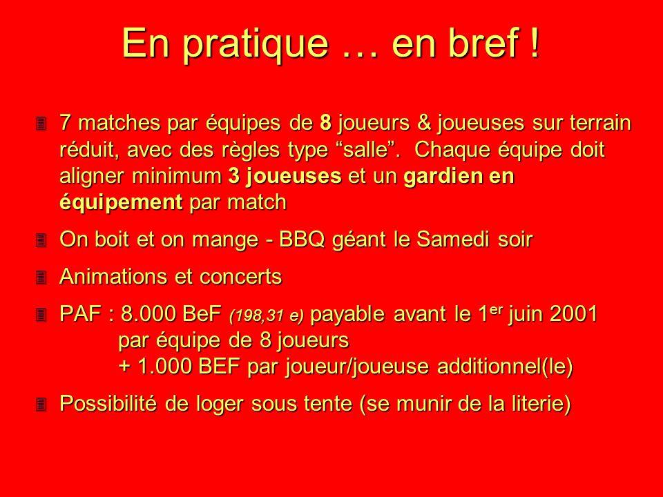 Suite au succès des éditions précédentes, les Namurois remettent ça ! Nous vous attendons nombreux les 30 juin et 1er juillet 2001 de 14 à 14 heures