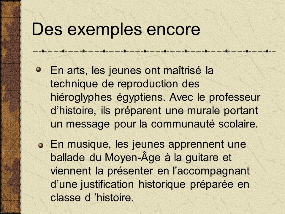 Voici des exemples dutilisation? En français, des élèves ont composé des textes et viennent les lire pendant quelques jours au Salon. En mathématiques
