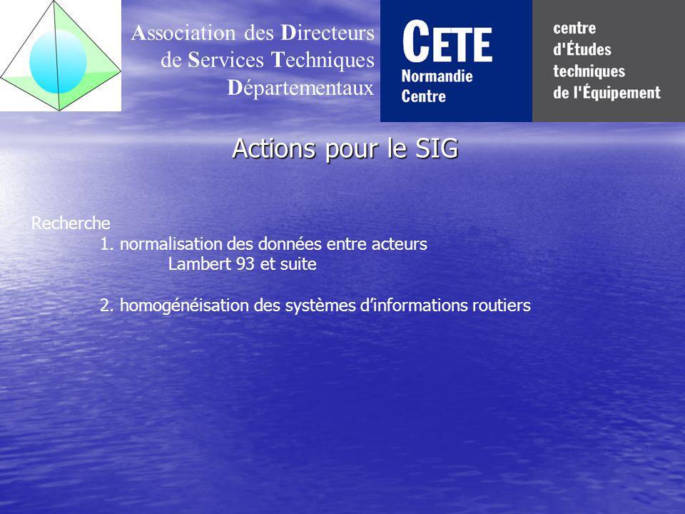 Actions pour le SIG Association des Directeurs de Services Techniques Départementaux Recherche 1.