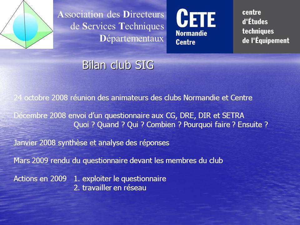 Bilan club SIG Association des Directeurs de Services Techniques Départementaux 24 octobre 2008 réunion des animateurs des clubs Normandie et Centre Décembre 2008 envoi dun questionnaire aux CG, DRE, DIR et SETRA Quoi .