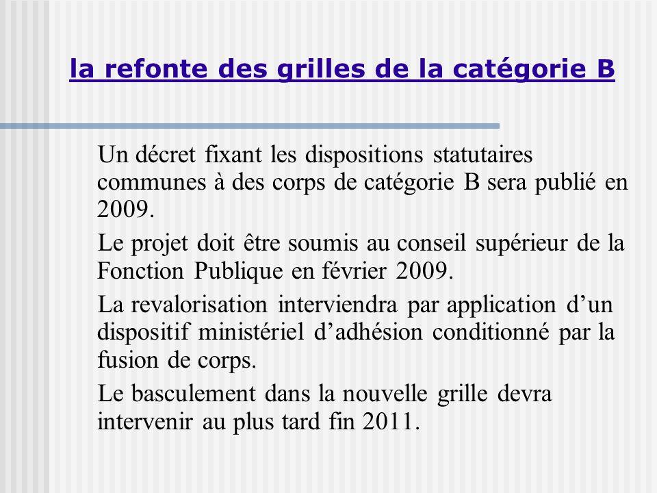 Un décret fixant les dispositions statutaires communes à des corps de catégorie B sera publié en 2009.