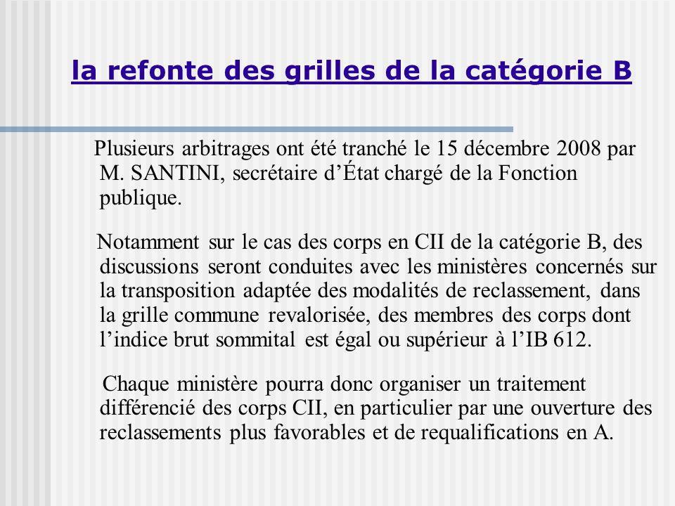 la refonte des grilles de la catégorie B Plusieurs arbitrages ont été tranché le 15 décembre 2008 par M.