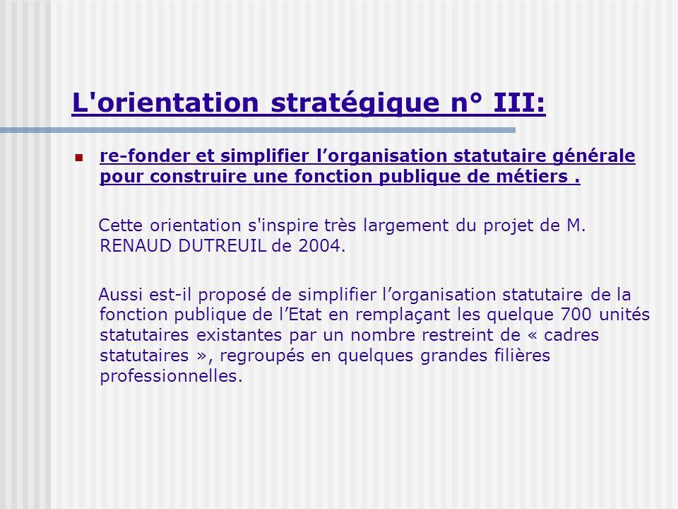 L orientation stratégique n° III: re-fonder et simplifier lorganisation statutaire générale pour construire une fonction publique de métiers.