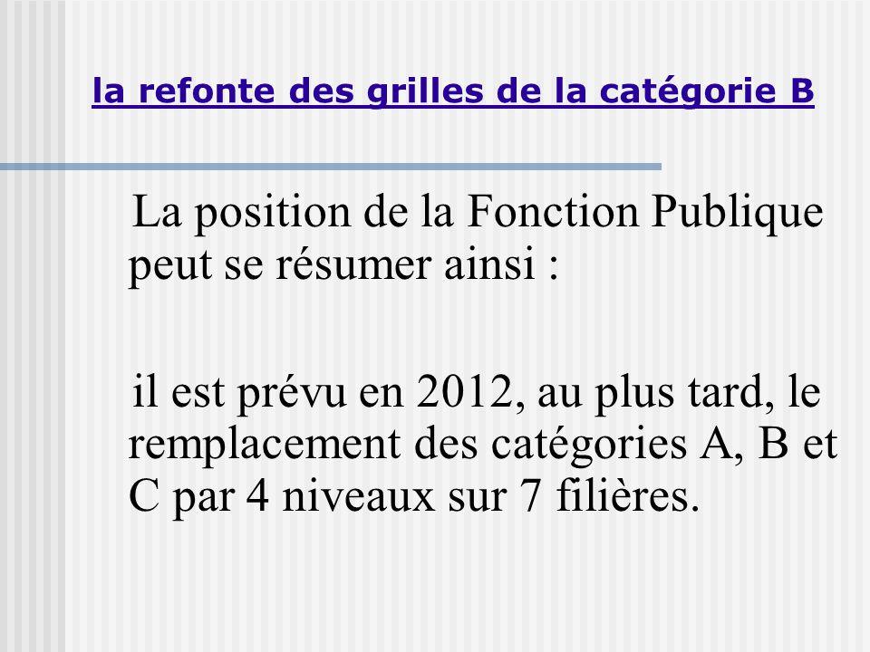 la refonte des grilles de la catégorie B La position de la Fonction Publique peut se résumer ainsi : il est prévu en 2012, au plus tard, le remplacement des catégories A, B et C par 4 niveaux sur 7 filières.