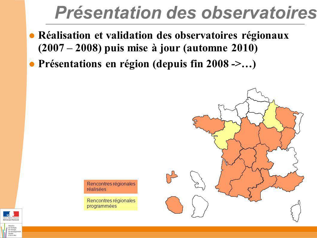 Présentation des observatoires Réalisation et validation des observatoires régionaux (2007 – 2008) puis mise à jour (automne 2010) Présentations en région (depuis fin 2008 ->…) Rencontres régionales réalisées Rencontres régionales programmées