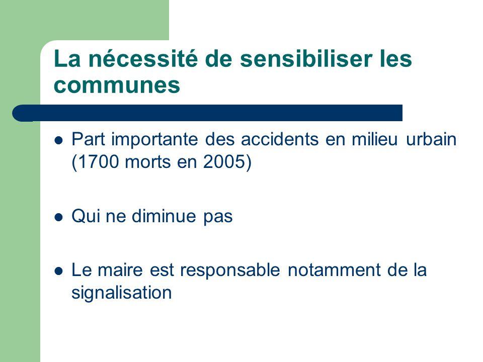 La nécessité de sensibiliser les communes Part importante des accidents en milieu urbain (1700 morts en 2005) Qui ne diminue pas Le maire est responsable notamment de la signalisation