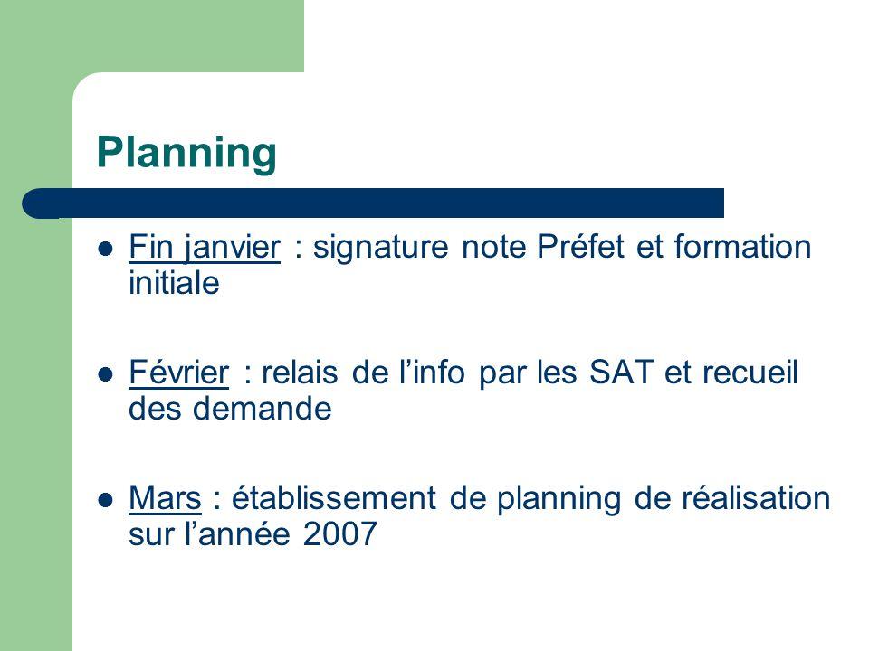 Planning Fin janvier : signature note Préfet et formation initiale Février : relais de linfo par les SAT et recueil des demande Mars : établissement de planning de réalisation sur lannée 2007