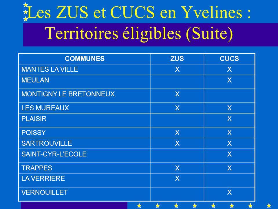 Les ZUS et CUCS en Yvelines : Territoires éligibles (Suite) COMMUNESZUSCUCS MANTES LA VILLEXX MEULANX MONTIGNY LE BRETONNEUXX LES MUREAUXXX PLAISIRX POISSYXX SARTROUVILLEXX SAINT-CYR-LECOLEX TRAPPESXX LA VERRIEREX VERNOUILLETX