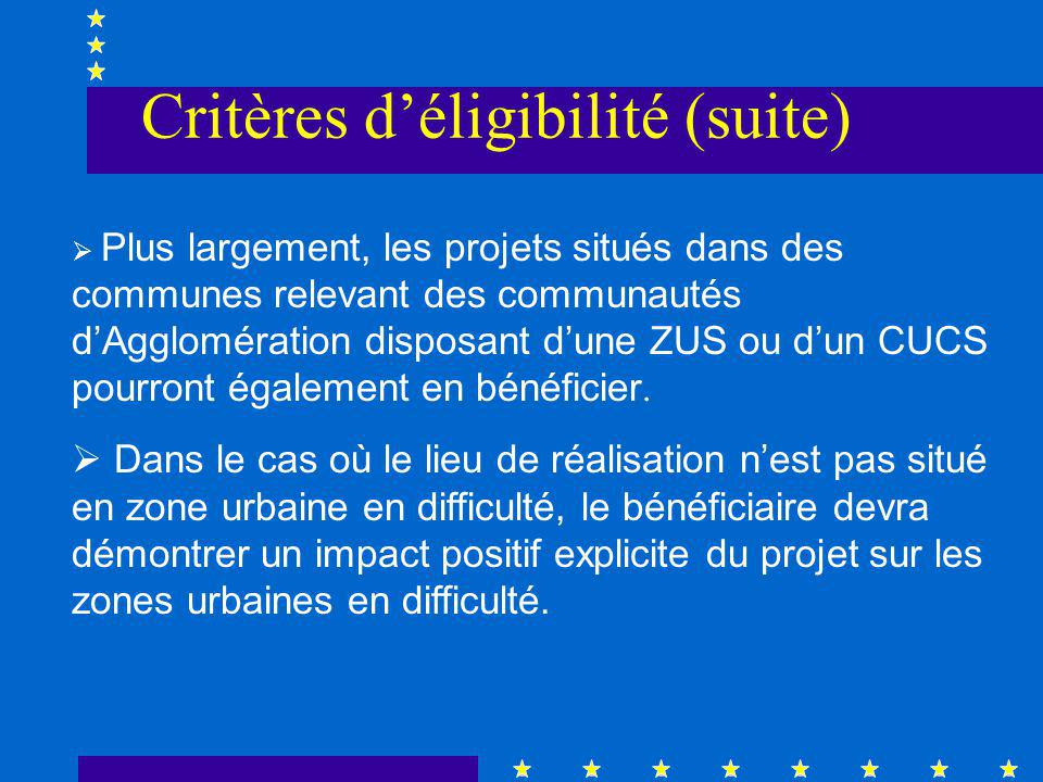 Plus largement, les projets situés dans des communes relevant des communautés dAgglomération disposant dune ZUS ou dun CUCS pourront également en bénéficier.