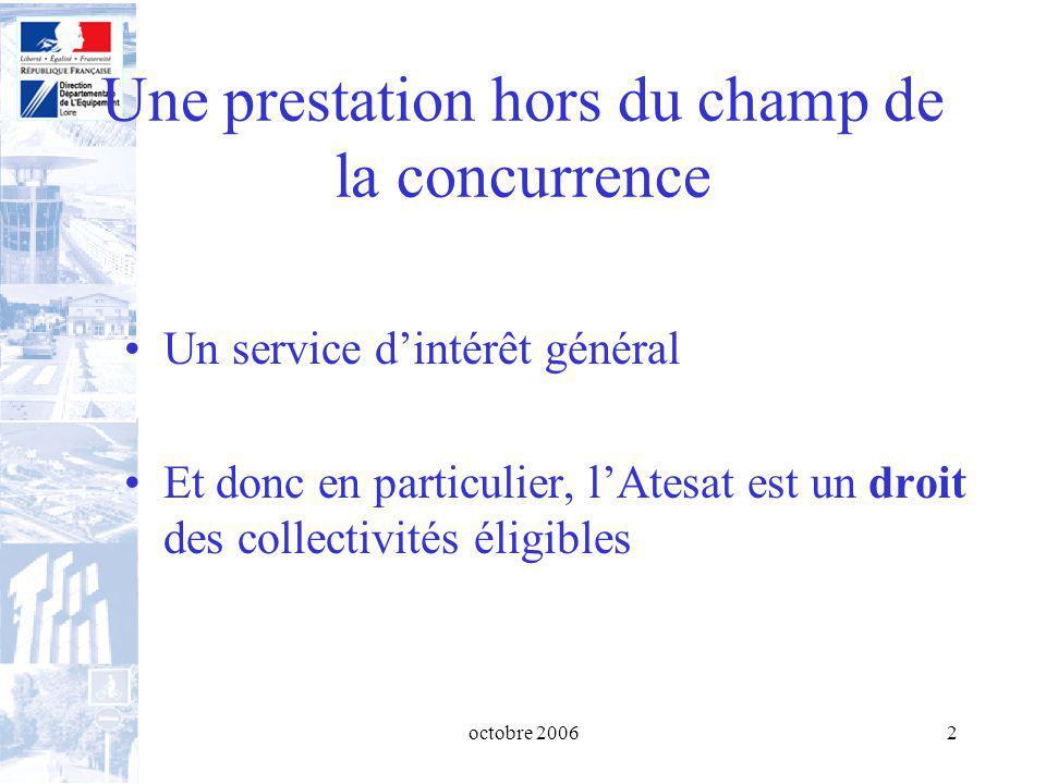 octobre 20062 Une prestation hors du champ de la concurrence Un service dintérêt général Et donc en particulier, lAtesat est un droit des collectivités éligibles