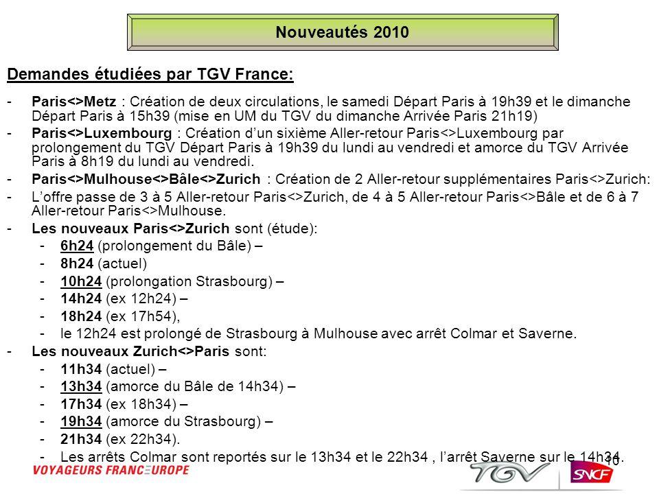 10 Demandes étudiées par TGV France: - Paris<>Metz : Création de deux circulations, le samedi Départ Paris à 19h39 et le dimanche Départ Paris à 15h39
