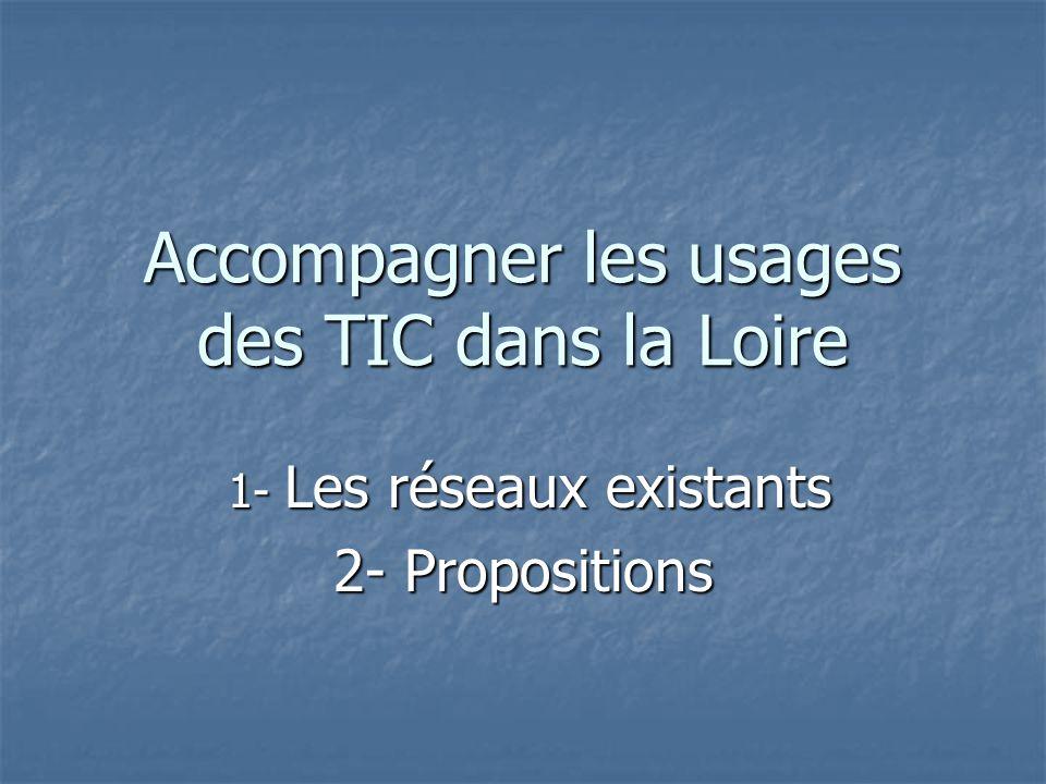 Accompagner les usages des TIC dans la Loire 1- Les réseaux existants 1- Les réseaux existants 2- Propositions