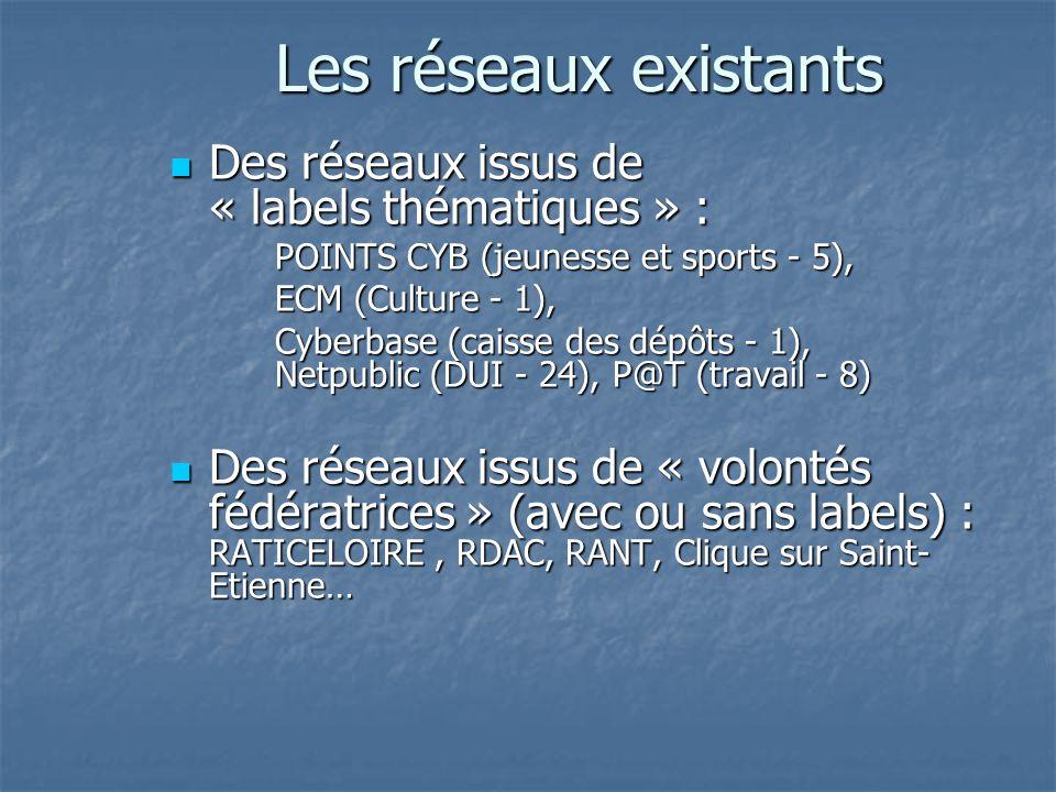 Les réseaux existants Des réseaux issus de « labels thématiques » : Des réseaux issus de « labels thématiques » : POINTS CYB (jeunesse et sports - 5), ECM (Culture - 1), Cyberbase (caisse des dépôts - 1), Netpublic (DUI - 24), P@T (travail - 8) Des réseaux issus de « volontés fédératrices » (avec ou sans labels) : RATICELOIRE, RDAC, RANT, Clique sur Saint- Etienne… Des réseaux issus de « volontés fédératrices » (avec ou sans labels) : RATICELOIRE, RDAC, RANT, Clique sur Saint- Etienne…