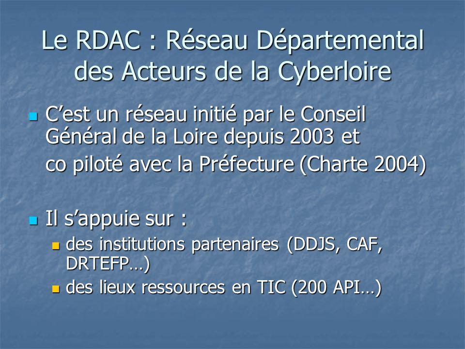 Le RDAC : Réseau Départemental des Acteurs de la Cyberloire Cest un réseau initié par le Conseil Général de la Loire depuis 2003 et Cest un réseau initié par le Conseil Général de la Loire depuis 2003 et co piloté avec la Préfecture (Charte 2004) Il sappuie sur : Il sappuie sur : des institutions partenaires (DDJS, CAF, DRTEFP…) des institutions partenaires (DDJS, CAF, DRTEFP…) des lieux ressources en TIC (200 API…) des lieux ressources en TIC (200 API…)