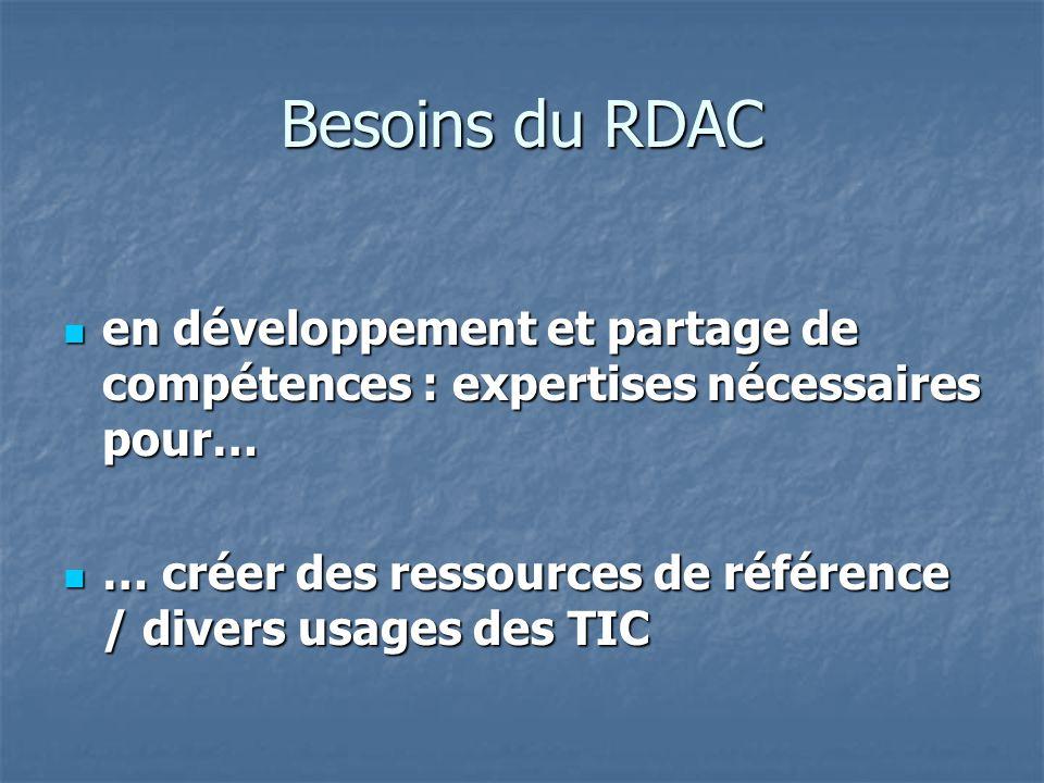 Besoins du RDAC en développement et partage de compétences : expertises nécessaires pour… en développement et partage de compétences : expertises nécessaires pour… … créer des ressources de référence / divers usages des TIC … créer des ressources de référence / divers usages des TIC