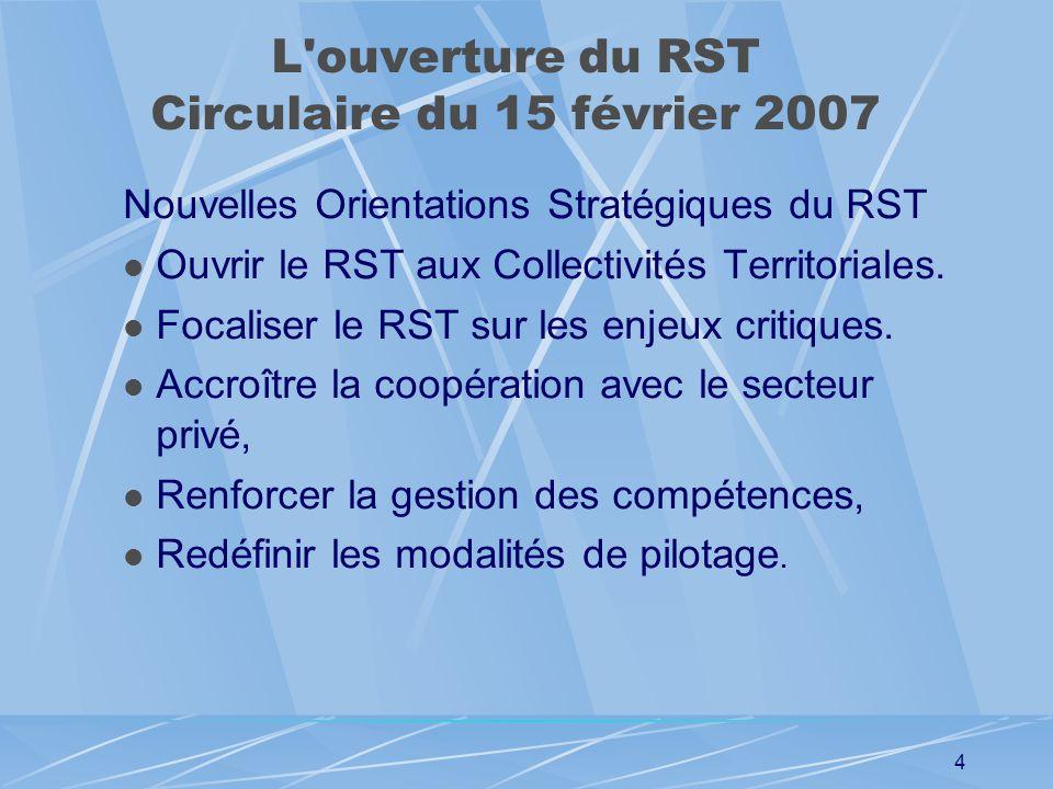 3 Séminaire Etat – Collectivités locales du 31 janvier 2007 Extrait des conclusions : Le RST est un bien commun qui doit rester unifié sous la bannièr