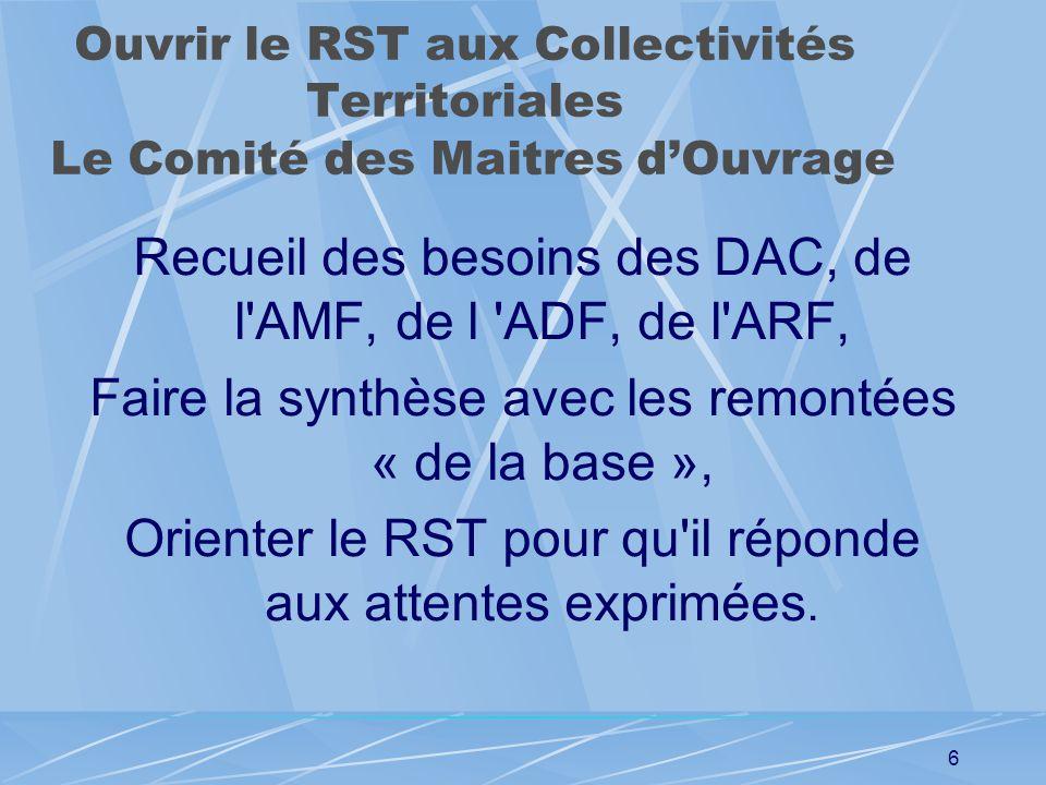 5 Ouvrir le RST aux Collectivités Territoriales Réunion du 07 02 2007 Participants : DRAST, DGR, SETRA, ADF, ADSTD. Créations de structures d'échanges