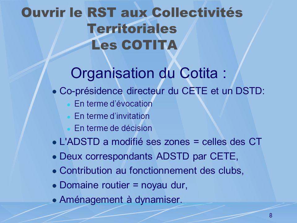 7 Ouvrir le RST aux Collectivités Territoriales Les COTITA Maintien d'une communauté technique publique au niveau local, Pilotage et évaluation des cl