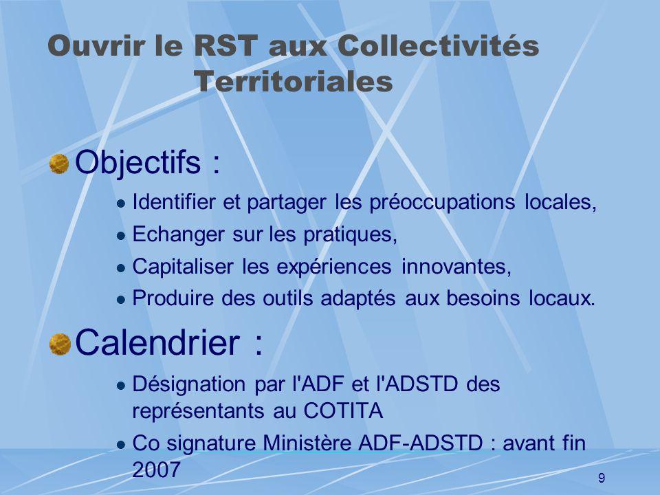 8 Ouvrir le RST aux Collectivités Territoriales Les COTITA Organisation du Cotita : Co-présidence directeur du CETE et un DSTD: En terme dévocation En