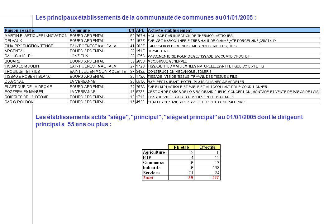 Les principaux établissements de la communauté de communes au 01/01/2005 : Les établissements actifs