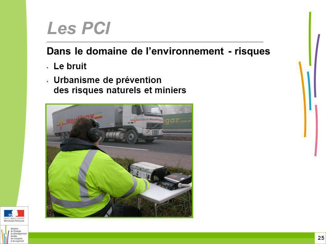 25 25 Dans le domaine de lenvironnement - risques Le bruit Urbanisme de prévention des risques naturels et miniers Les PCI