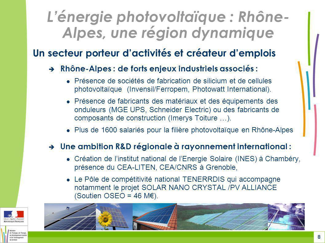 9 La politique nationale de soutien à lénergie photovoltaïque Un régime national de soutien confirmé...
