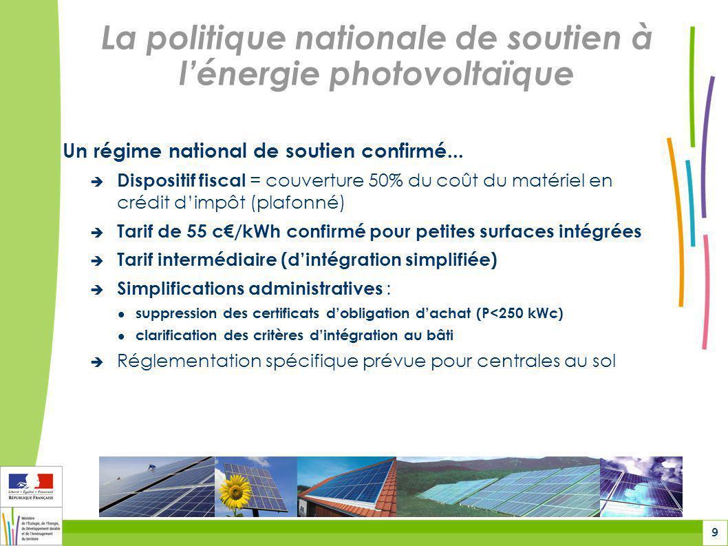 10 La politique nationale de soutien à lénergie photovoltaïque...Complété par des actions volontaires : Lancement dun appel à projets (CRE) pour centrales solaires : 300 MW cumulés 20 MW mini en Rhône-Alpes Panneaux photovoltaïques sur les bâtiments de lEtat Identification de surfaces pour laccueil des projets : Secteurs de moindres enjeux environnementaux Valorisation danciens sites industriels ou secteurs délaissés Lancement d une étude globale de potentiel solaire en Rhône-Alpes dans le cadre des réflexions liées au futur schéma régional Climat-Air-Énergie