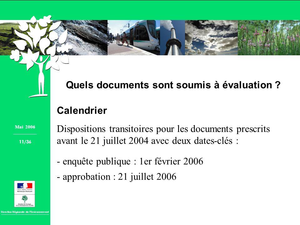 Direction Régionale de lEnvironnement Quels documents sont soumis à évaluation ? Calendrier Dispositions transitoires pour les documents prescrits ava
