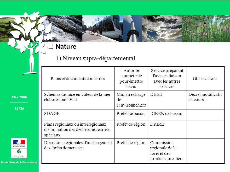 Direction Régionale de lEnvironnement Nature 1) Niveau supra-départemental Plans et documents concernés Autorité compétente pour émettre l'avis Servic