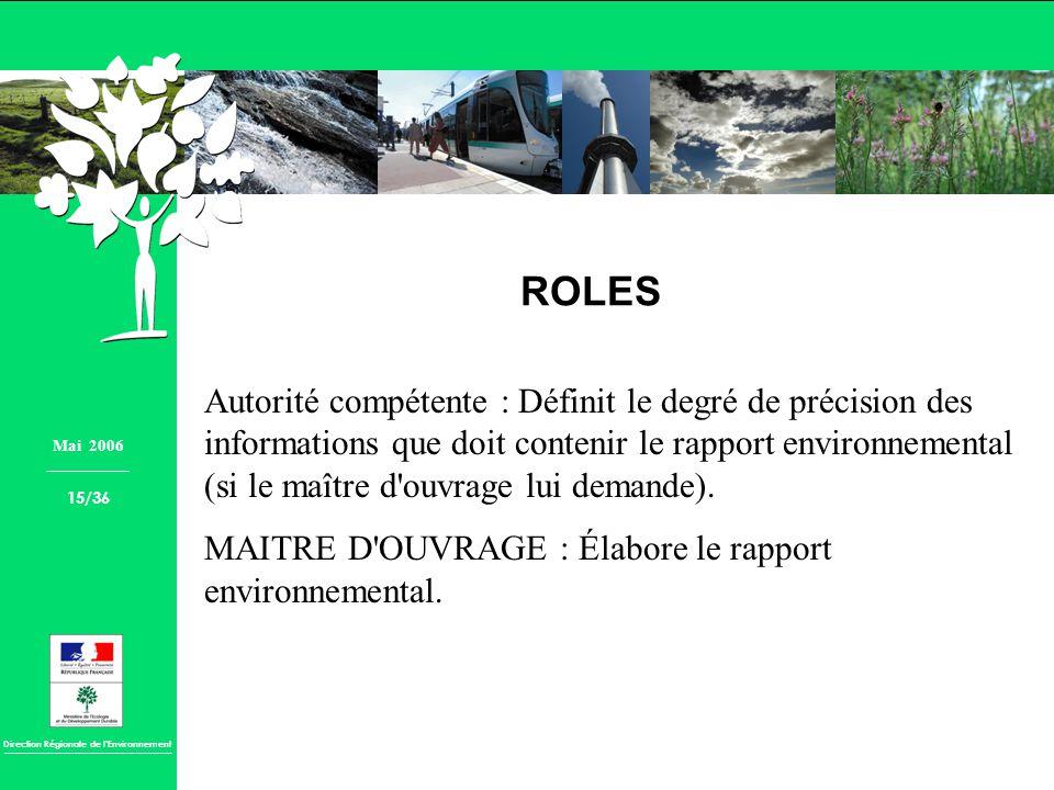 Direction Régionale de lEnvironnement ROLES Autorité compétente : Définit le degré de précision des informations que doit contenir le rapport environn