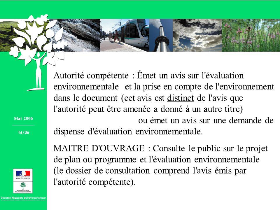 Direction Régionale de lEnvironnement Autorité compétente : Émet un avis sur l'évaluation environnementale et la prise en compte de l'environnement da