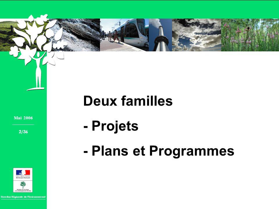 Direction Régionale de lEnvironnement Deux familles - Projets - Plans et Programmes Mai 2006 2/36
