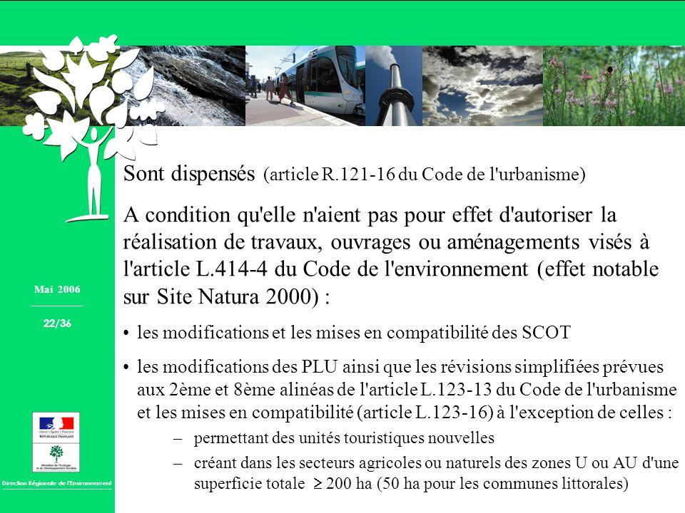 Direction Régionale de lEnvironnement Sont dispensés (article R.121-16 du Code de l'urbanisme) A condition qu'elle n'aient pas pour effet d'autoriser