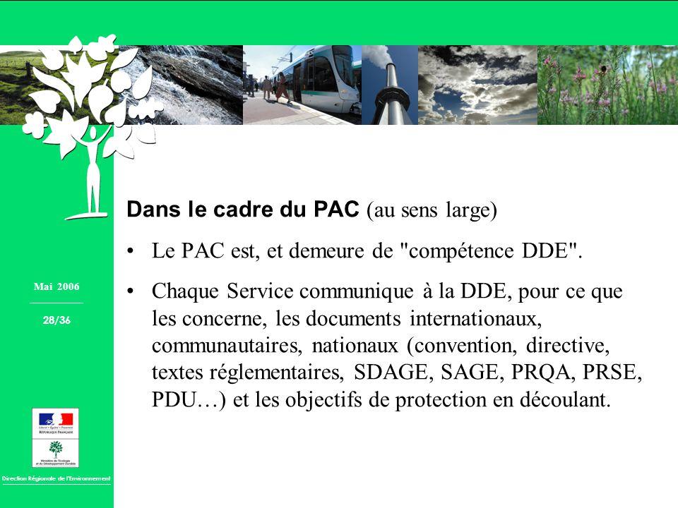 Direction Régionale de lEnvironnement Dans le cadre du PAC (au sens large) Le PAC est, et demeure de