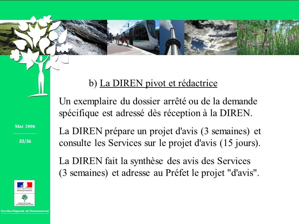Direction Régionale de lEnvironnement b) La DIREN pivot et rédactrice Un exemplaire du dossier arrêté ou de la demande spécifique est adressé dès réce