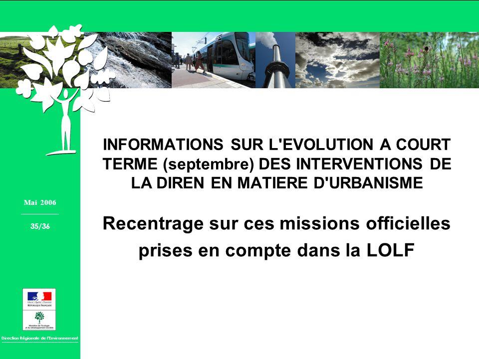 Direction Régionale de lEnvironnement INFORMATIONS SUR L'EVOLUTION A COURT TERME (septembre) DES INTERVENTIONS DE LA DIREN EN MATIERE D'URBANISME Rece