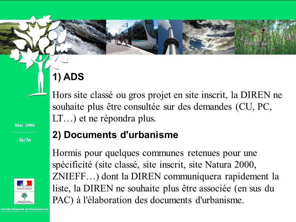 Direction Régionale de lEnvironnement 1) ADS Hors site classé ou gros projet en site inscrit, la DIREN ne souhaite plus être consultée sur des demande