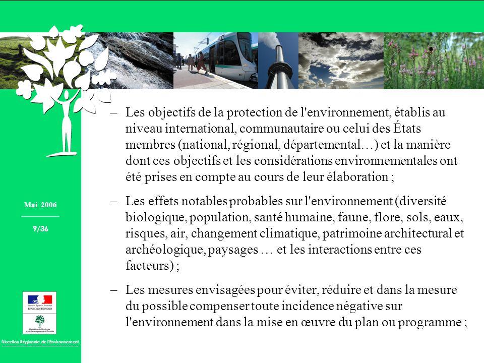 Direction Régionale de lEnvironnement –Les objectifs de la protection de l'environnement, établis au niveau international, communautaire ou celui des