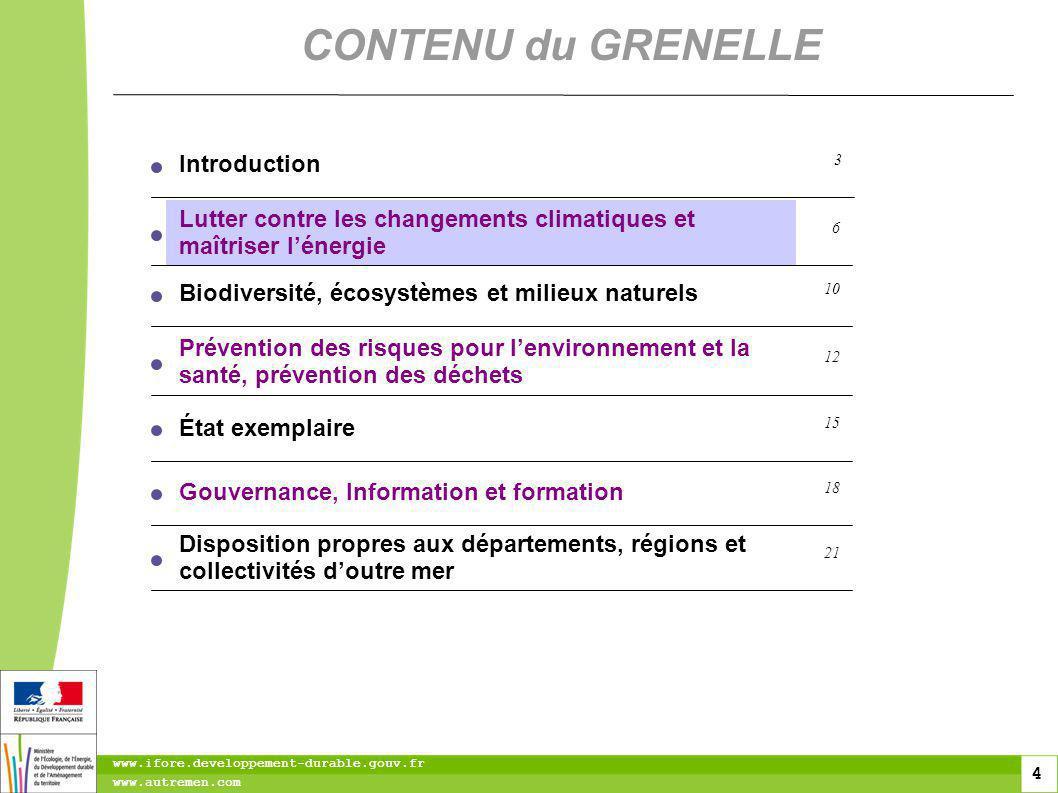 4 4 4 www.ifore.developpement-durable.gouv.fr www.autremen.com CONTENU du GRENELLE Lutter contre les changements climatiques et maîtriser lénergie 6 B