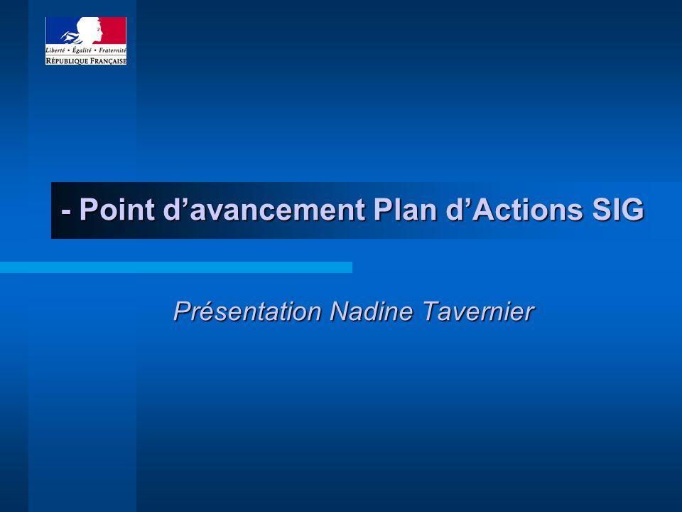 - Point davancement Plan dActions SIG Présentation Nadine Tavernier